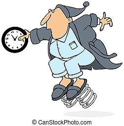 Daylight savings time - This illustration depicts a man in a...