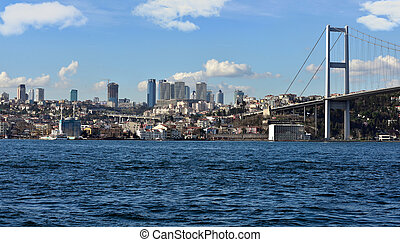 tourism and financial center in istanbul landscape on a...