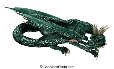 Sleeping Dragon - 3D digital render of a green resting...