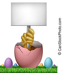 Easter Blank Sign - Easter blank sign card with a baby chick...