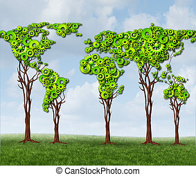 Global Tree Gears - Global tree gears with a group of green...