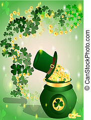 St Patricks Day - pot with coins mark St Patricks background...