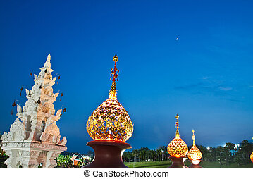 A Beautiful Lanterns Thai style and the blue sky at...