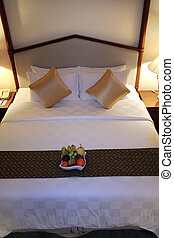 luxury hotel bed high angle