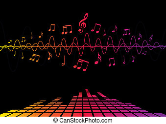 Audio Waves and Notes - An abstract design using audio waves...