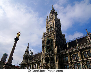 Building of Rathaus (city hall) in Munich, Germany