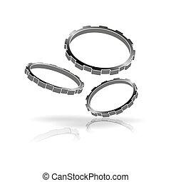 gearwheel - flying gearwheels as symbol for technical...