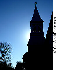 back light -  abstract church with blue sky