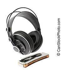 headsets and mouth-organ on a white background - black...