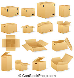 Carton Box - vector illustration of different shape carton...