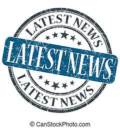 Latest News blue grunge round stamp on white background