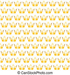golden crowns pattern - Seamless white background with...