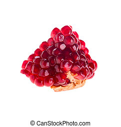 slice of pomegranate on a white