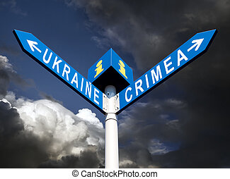 Crimea-Ukraine road sign - Political metaphor. Ukraine and...