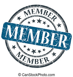 Member blue grunge round stamp on white background