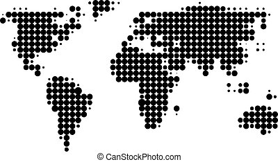 Halftone map - Halftone Map of world in halftone style
