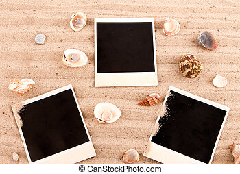 three cards sand with shells