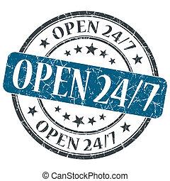 Open 24 7 blue grunge round stamp on white background