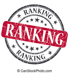 Ranking red grunge round stamp on white background