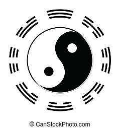 I Ching - Yin and Yang in black and white with the symbols...