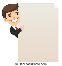 Businessman looking at blank poster In the EPS file, each...