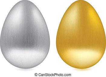 Golden and silver engraved isolated egg on white background