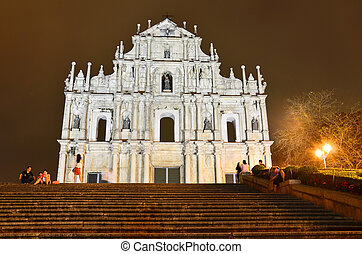 Saint Paul church in Macau at night - Saint Paul church in...