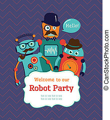 Robot Party Invitation Card Design Vector Illustration