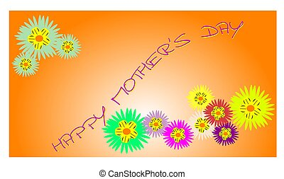 happy mothers day with flowers  - mothers day concept  card