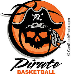 pirate basketball design with skull and basketball