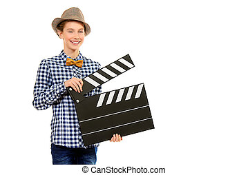 cameraman - Beautiful girl teenager holding clapper board...
