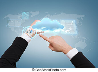 businessman pointing to virtual watch at his hand - cloud...