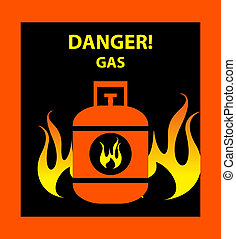 Gas propane butane danger sign vector