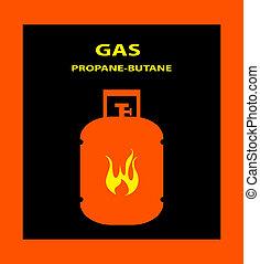 gas, propano, Butano, peligro, señal