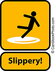 Slippery warning yellow sign vector