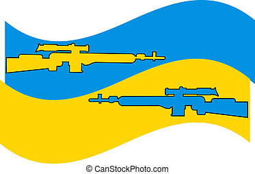 Ukraine conflict illustration, flag color and weapon