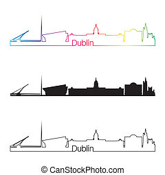 Dublin skyline linear style with rainbow