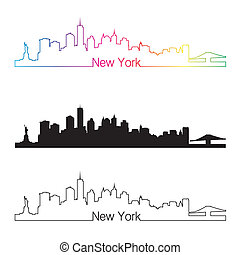 New York skyline linear style with rainbow in editable...