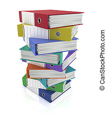office binders - one stack of coloured office binders 3d...