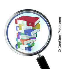 document search - one magnifying glass with a pile of office...