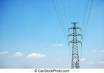 electric powerlines in blue sky