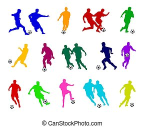 colored Soccer players silhouettes