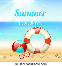 Summer holiday vacation travel background poster with...