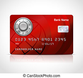Realistic credit card template with code lock online...