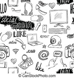 Seamless doodle social media pattern