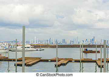 Panama City - Panam City skyscrapers skyline on sunny day in...
