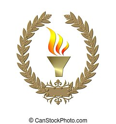 golden laurel wreath with flame