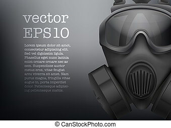 Background of Military black gasmask vector - Background of...