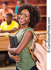 female african university student in lecture hall