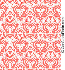 Vintage vector art deco pattern in coral red